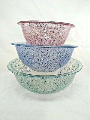 Vintage pyrex mixing bowls clear bottoms green blue red spatter 322, 323, 325