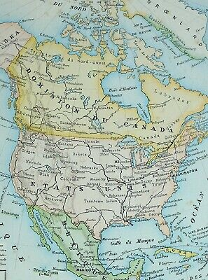 Map Of North America With States.1905 Map North America United States Mexico Dominion Of Canada Cuba Honduras