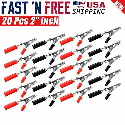 20 Pcs Electrical Test Clamps Metal Alligator Clips with Red & Black Handle Bulk