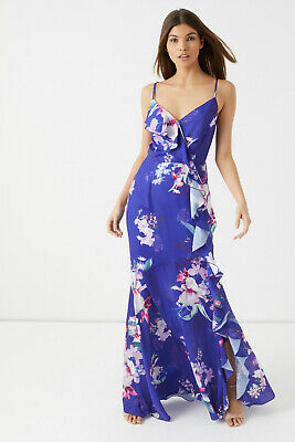 6a7136bde01 New LIPSY Lucia Colbalt Blue Purple Pink Floral Ruffle Cross Back Maxi  Dress 8