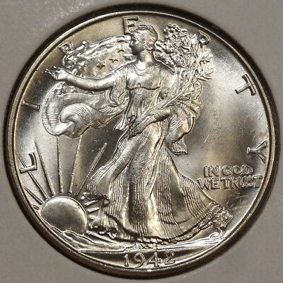 1942 Walking Liberty Half Dollar, Choice Uncirculated, Bright White BU   0507-04