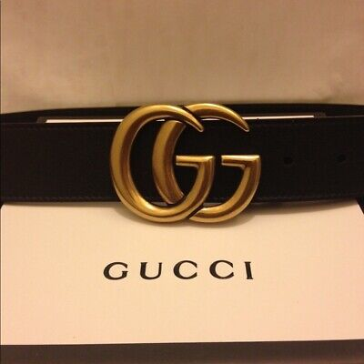 f463b8b818a Gucci Black Leather Double G Buckle Belt Brand New with Tags (Various Sizes)