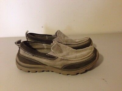 Skechers Mens Relaxed Fit Status Delton Canvas Loafers Taupe 10m #6575 NWOB