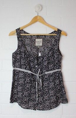 ESPRIT Dark Grey Cotton Blouse with Buttons and Waist Tie Size 10