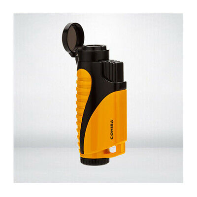 COHIBA Yellow And Black Metal Cigar Cigarette Lighter 3 Torch Jet Flame