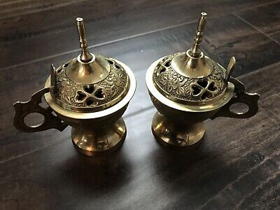 Vintage Indian Brass Incense Burner Set  Frankincense And Myrrh Made In India