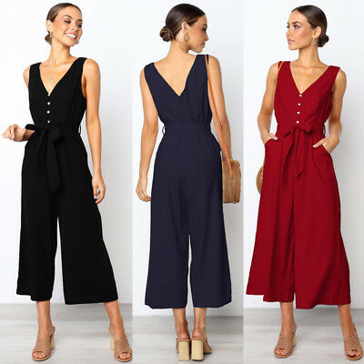Womens V Neck Button Holiday Long Playsuit Dress Trousers Party Jumpsuit Romper