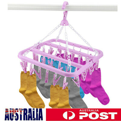 32 Pegs Foldable Clothes Hanger Dryer Airer Underwear Sock Laundry Rack Plastic