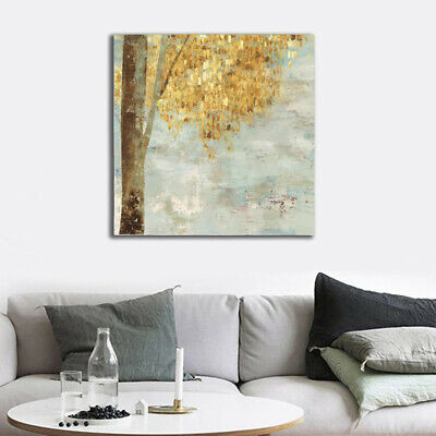 Abstract Tree Gold Leaves Modern Home Decor Canvas Oil Art Wall Picture Painting