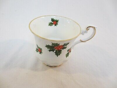 White Fine Bone China Royal Dover Cup and Saucer with Holly Berry Accent and Gol
