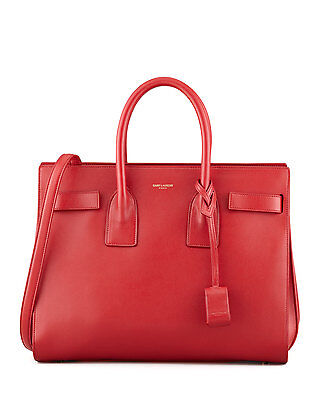 100%auth New Women Yves Saint Laurent Sac De Jour Red Shoulder Satchel Bag 440b6b8f02743