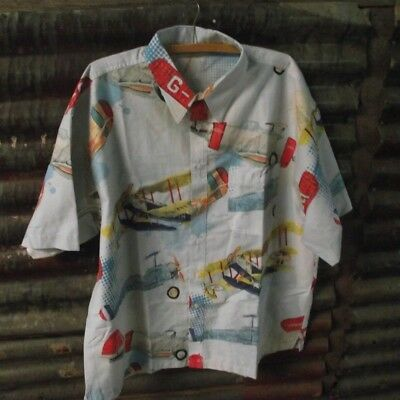 Vintage Plane / Airplane Fabric (Doona Cover) - Upcycled into Shirt