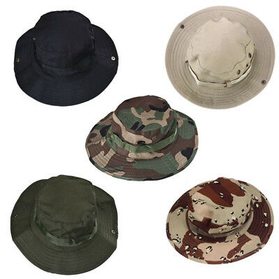 Women Men Summer Outdoor Boonie Hunting Fishing Wide Cap Military Canvas Hat XK