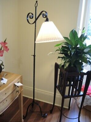 Antique Blacksmith Made Wrought Floor Lamp with Pleated Shade