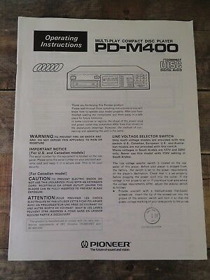 Pioneer Multi Play Compacy Disc CD Player PD-M400 Instruction Manual