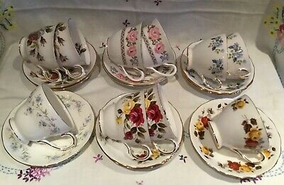 *job Lot 10 Beautiful Vintage 🌷 Mismatched Bone China Tea Set Cups And Saucers*