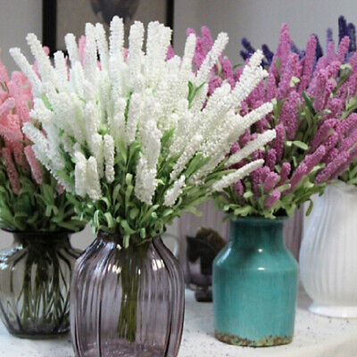 12 Heads of Bunch Artificial Silk Lavender Flower Bouquet Wedding Party Decor
