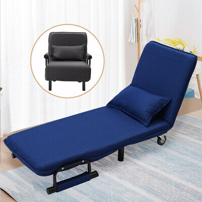 Convertible Lounge Sleeper Sofa Bed Chair Folding Couch Armchairs Foldable Linen