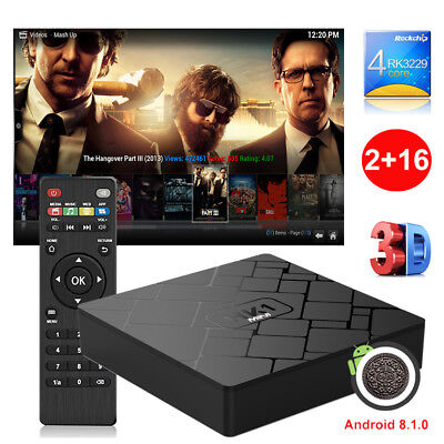 2+16GB Quad Core HK1MINI Smart Android 8.1.0 TV BOX 4K H.265 Streaming Player FR