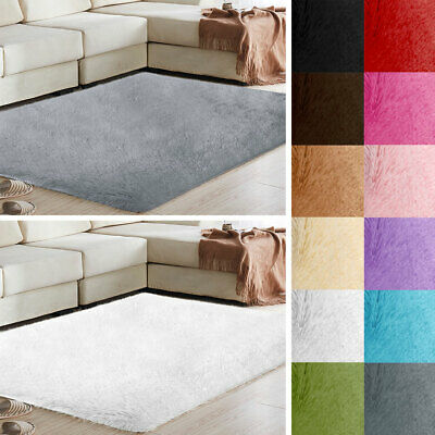 Fluffy Rugs Anti-Skid Shaggy Area Rug Room Carpet Floor Mat Home Bedroom - Fast
