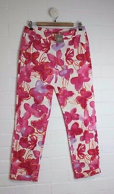 NEXT Girls Floral Pink Purple Pants Straight Leg Cuff Size 16 years NEW w/ Tags