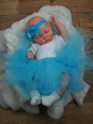 Reborn Girl Doll Blue Tutu Sleeping Baby Molly