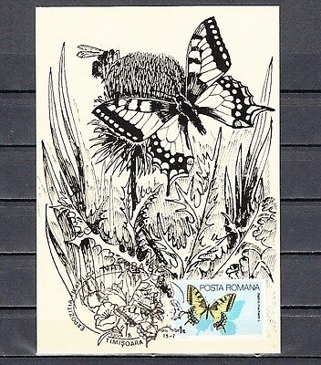 Romania, 1987 issue. 14/NOV/87. Butterfly Cancel on butterfly Post Card