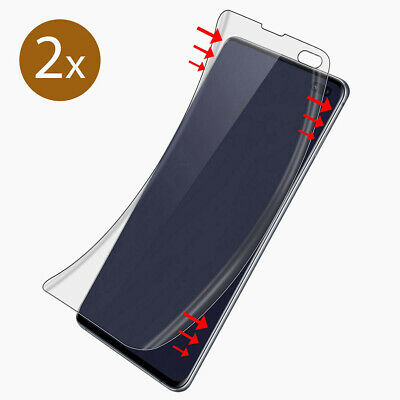 2x Panzer Folie 3D für Samsung Galaxy S10 PLUS Display Schutz Folie Full Cover