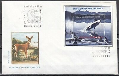 Romania, Scott cat. 3789. Whale s/sheet on a First day cover
