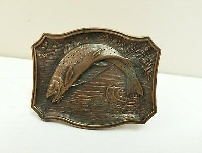 Vintage Trout 1975 James Lind Belt Buckle Wyoming Studio Arts Works