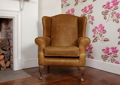 Chesterfield Armchair Queen Anne High Back Wing Chair in Vintage Tan leather