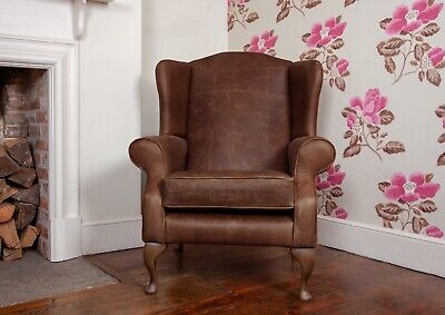 Leather Armchair Queen Anne High Back Wing Chair in Vintage Brown Leather