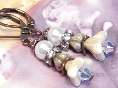 Earrings Copper Czech Glass Ivory Pearl & Green Picasso Flower Clear, Ab Crystal