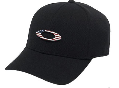 Oakley Mens Tincan Hat / Cap NEW Black / RWB Flag (Bulk 10 Hat Lot Size S/M)