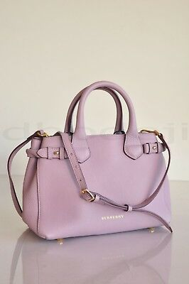 ade85ebce789 Authentic BURBERRY Calf Grain Leather Small Banner Tote Bag IN Pale Orchid