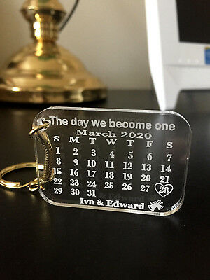 Personalised Calendar Keyring,Keychain With Gold Plated Split Ring,Gift bag incl