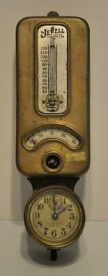 Antique Brass Jewell Heat Controller Wall Thermostat with Clock Steampunk