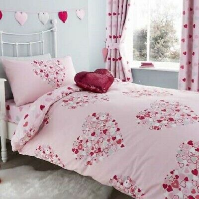 bd1ee7c7c08 LOVEABLE HEARTS DUVET Cover And Pillowcase Set Reversible Love Pink ...