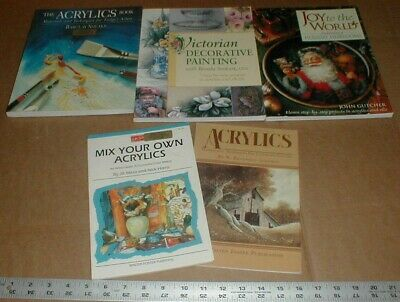 5 Painting Acrylics Landscape Christmas Holiday Victorian Decorative Books Lot