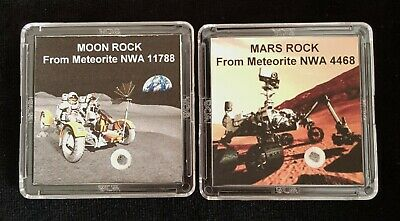 2 DELUXE EDITIONS -AUTHENTICATED MOON & MARS ROCK METEORITE DISPLAYS+Easels   rr