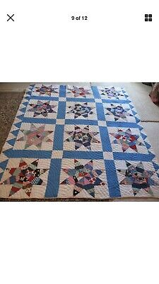Superb Quilting NEVER USED! ANTIQUE QUILT, STARS, 80X65 PIECED COTTON LAUNDERED