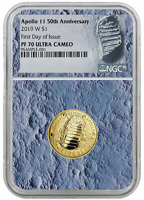 2019 W Apollo 11 50th Annv $5 Gold Proof Commem NGC PF70 FDI Moon Core SKU56545