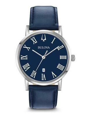 Brand New Bulova  Men's Blue Dial Blue Leather Strap Watch 96B295