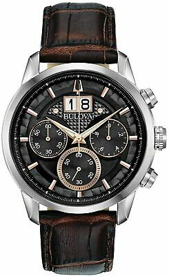 Brand New Bulova Men' s Chronograph Sutton Brown Leather Strap Watch 44mm 96B311