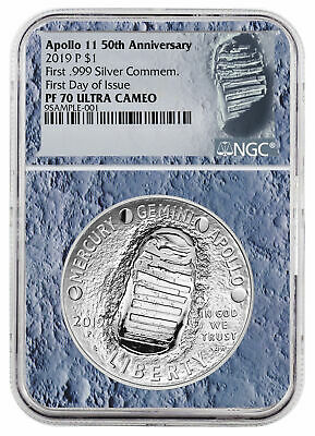 2019 Apollo 11 50th Annv Commem Silver Dollar NGC PF70 FDI Moon Core SKU56541