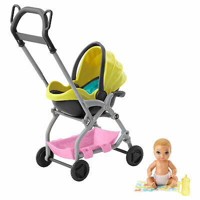 Barbie Skipper Babysitters Inc. Yellow Stroller with Baby Doll by Mattel (GFC18)