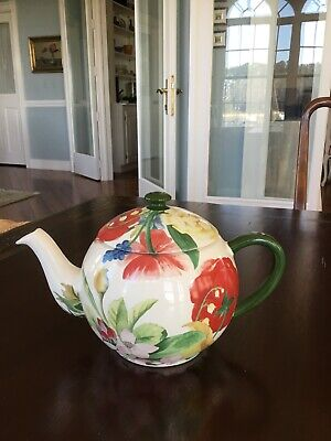 Gien French China Volupte pattern teapot & lid, PERFECT, Loire Valley