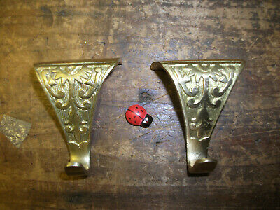 Pair ornate Picture Rail Brass Hooks painting photo hanging patterned