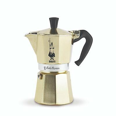 Bialetti Moka Express Stovetop Espresso Maker With Safety Valve Brews 6 Cup Gold
