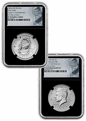 2019 S Apollo 11 50th 2-Coin Commem Clad Half PF Set NGC PF70 FDI Blk SKU56914